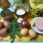 Состав салата с колбасой и морской капустой