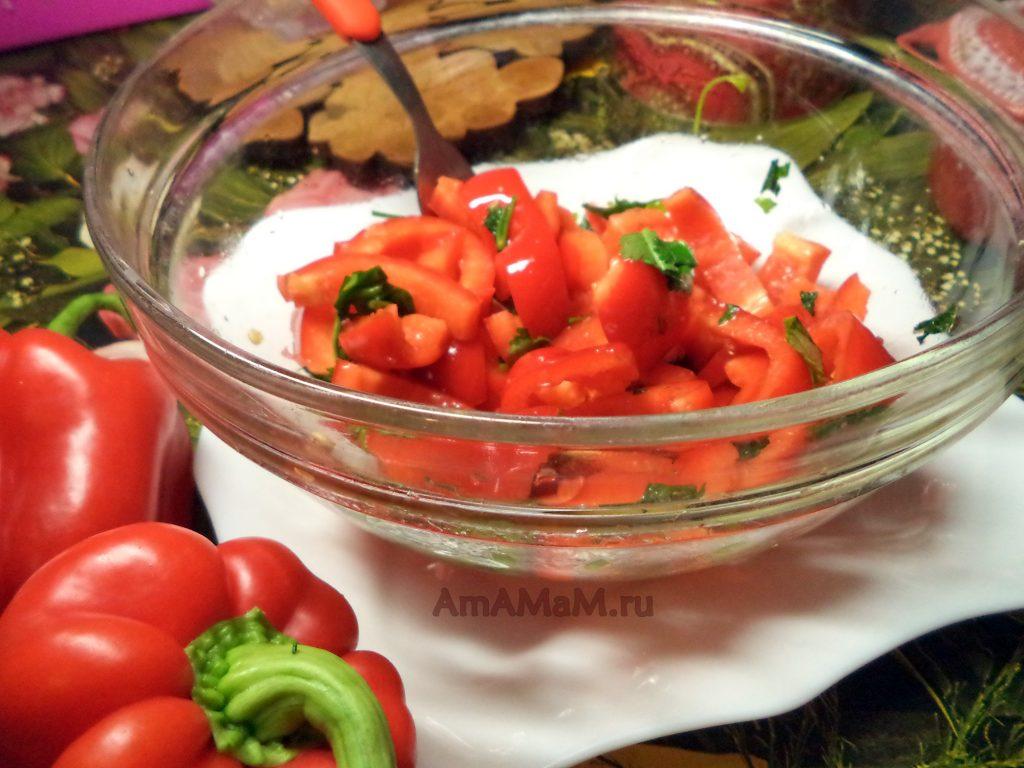 Салат из красного болгарского перца - простой рецепт