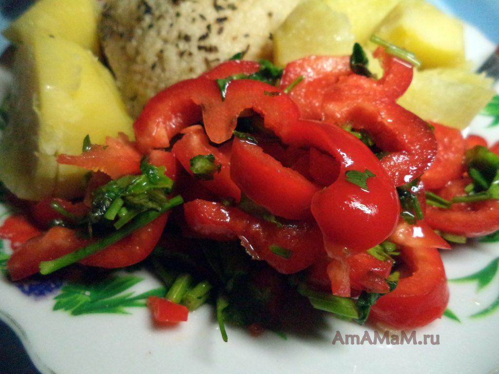 Салат из красного перца с картофелем на гарнир