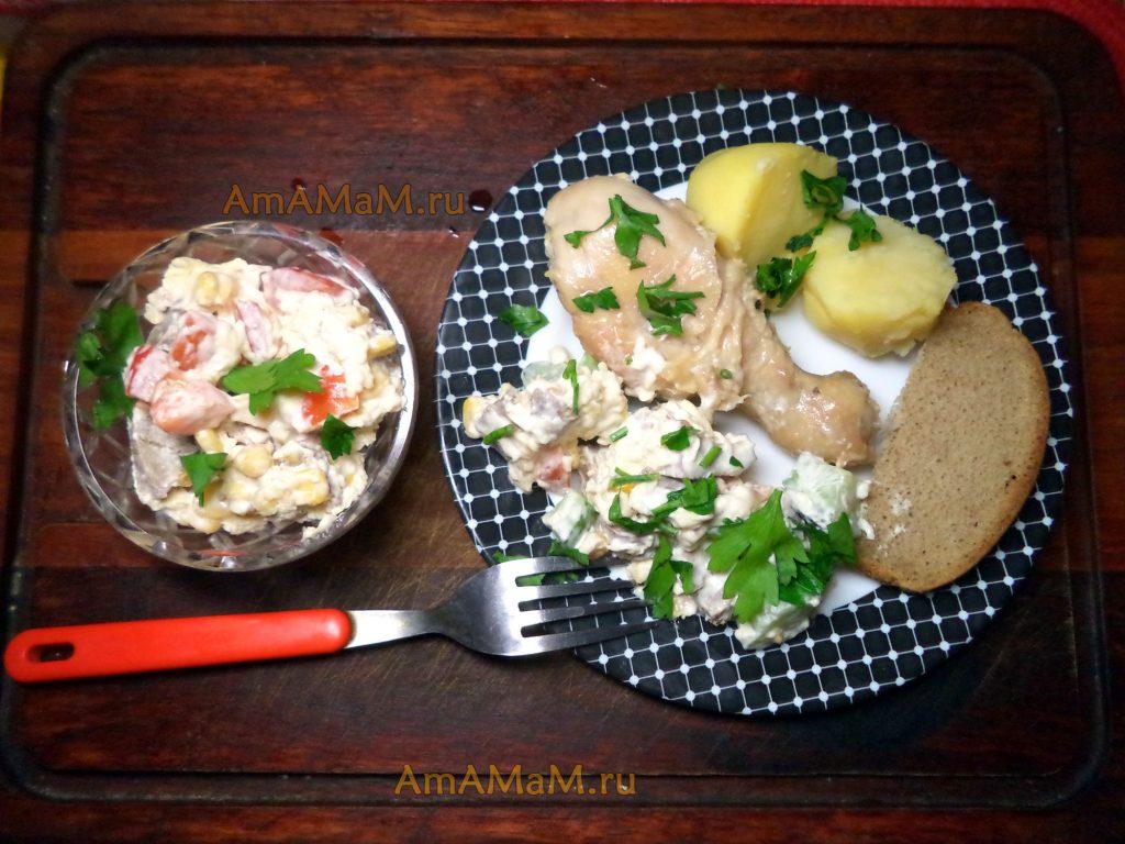 Салат с языком, курица и картофель с хлебом