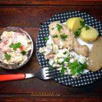 Салат из языка, помидоров и огурцов с кукурузой и сыром