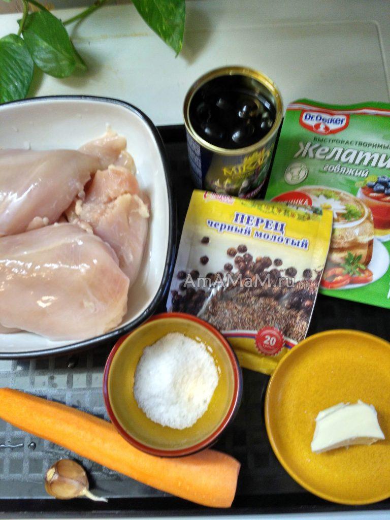 Ингредиенты рулета из курицы (грудки) в желе