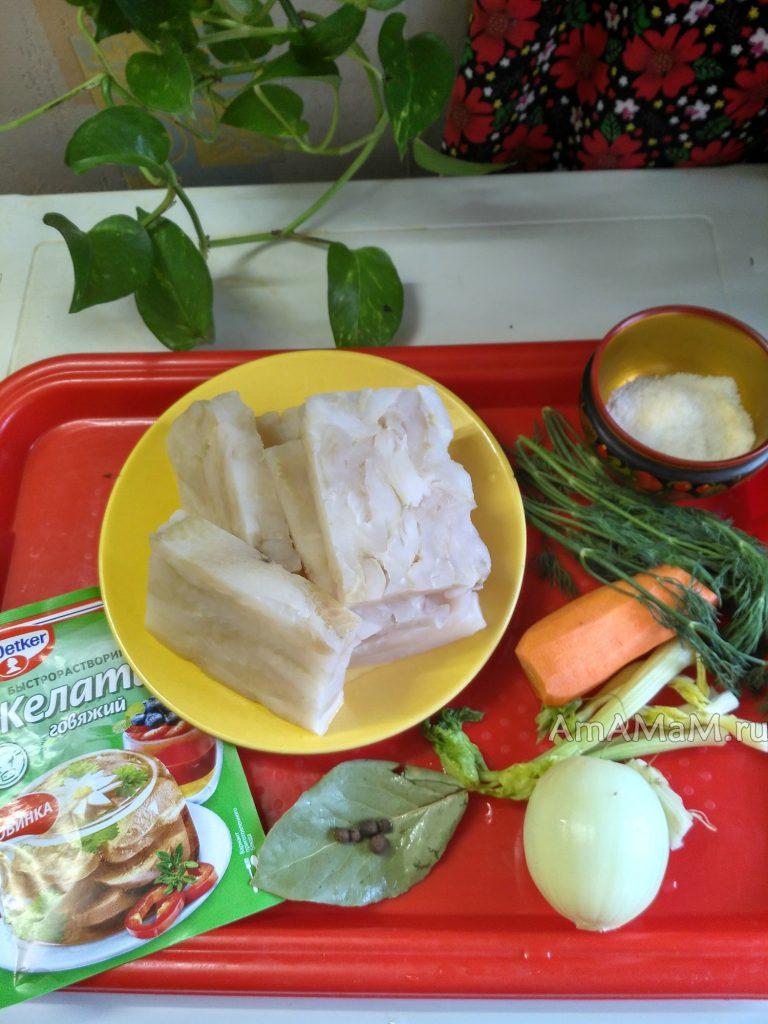 Палтус заливной - состав блюда