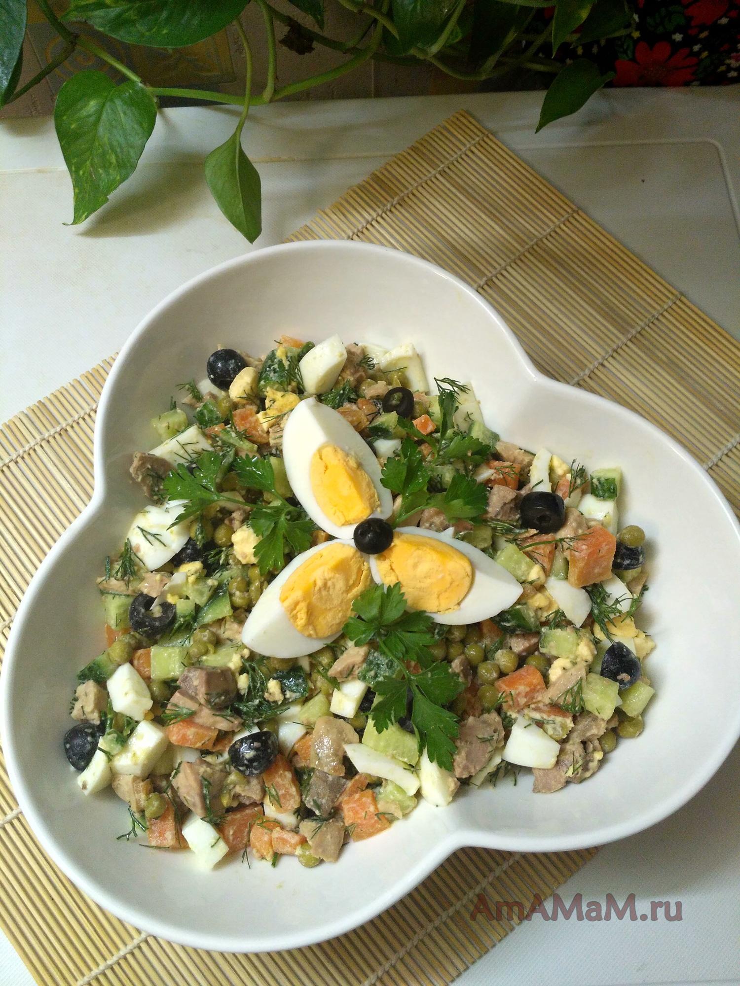 Салат с печенью трески с горошком рецепт 147