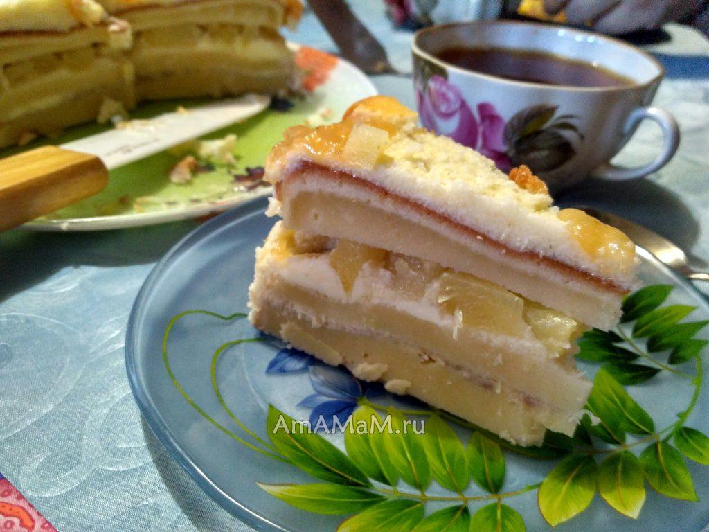 Торт с ананасами - фото