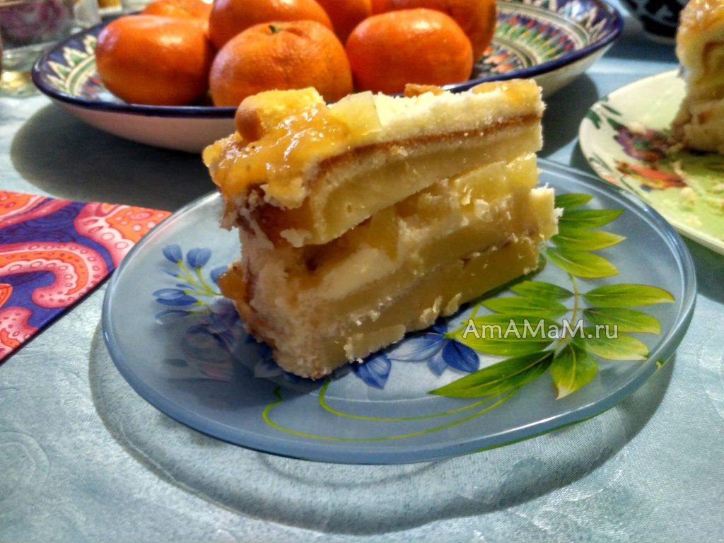 Домашний торт с апельсинами и ананасами