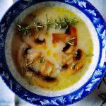 Грибной суп с молочными макаронами траханас