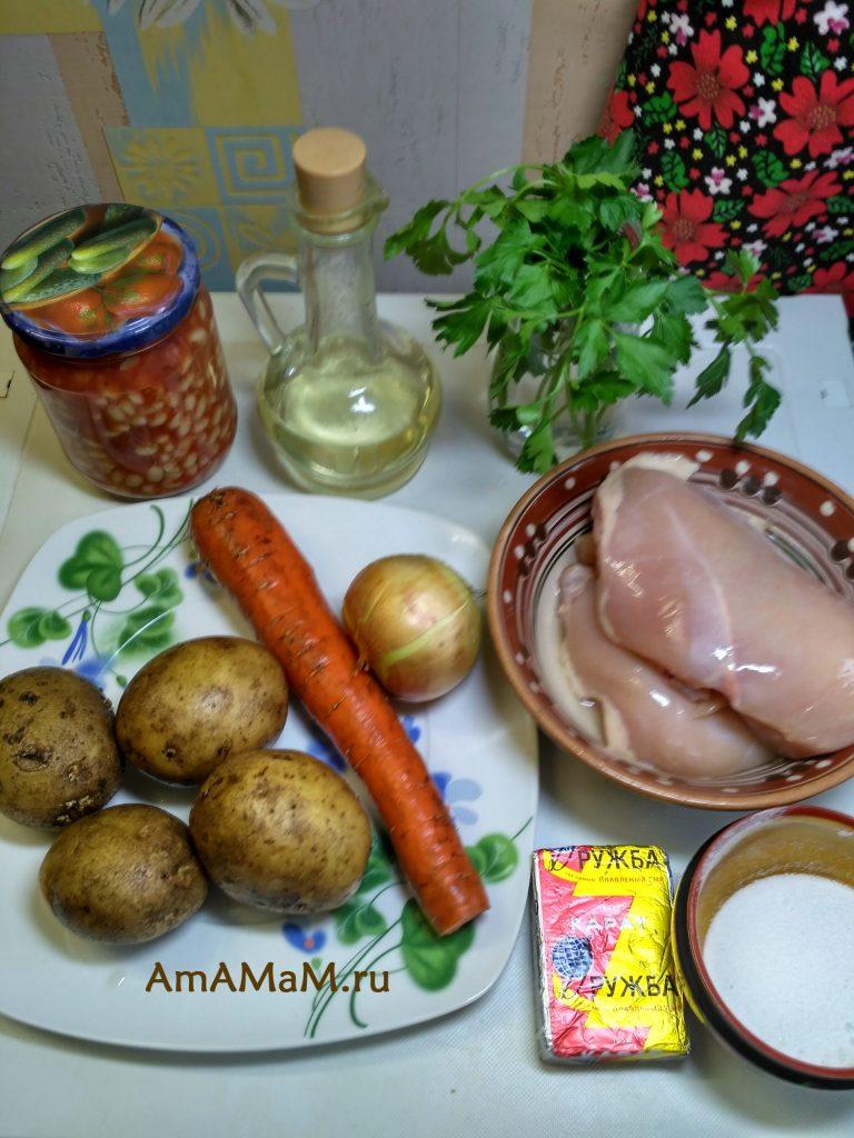 Ингредиенты супа с плавленым сырком и фасолью