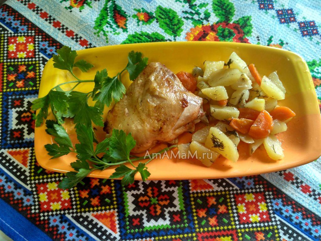 Курица с картошкой - рецепт в рукаве или пакете для запекания