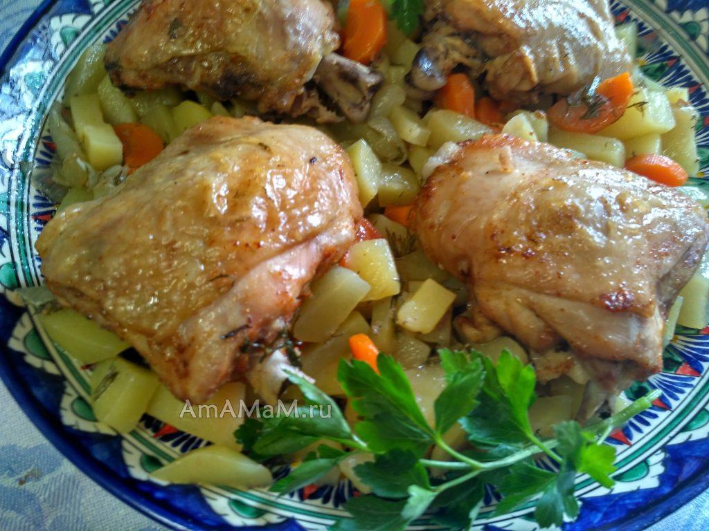 Рецепт курицы (бедрышек) с картофелем
