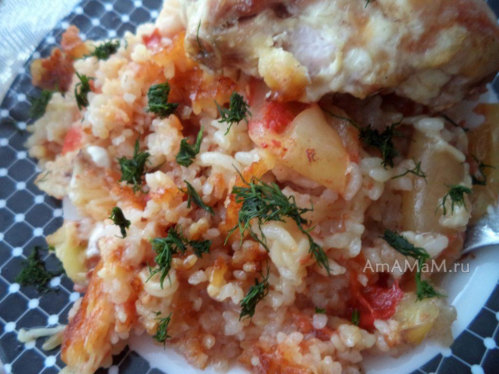 Приготовление риса с курицей в духовке в томате
