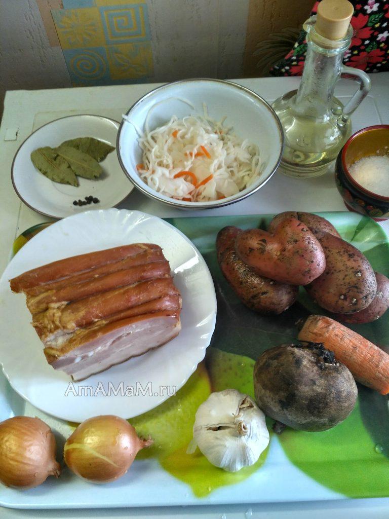 Борщ по-флотски - состав продуктов для морского супа
