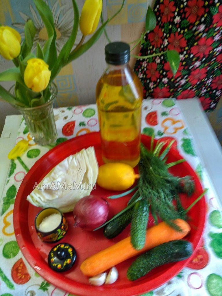 Ингредиенты капустного салата с огурцами и морковью