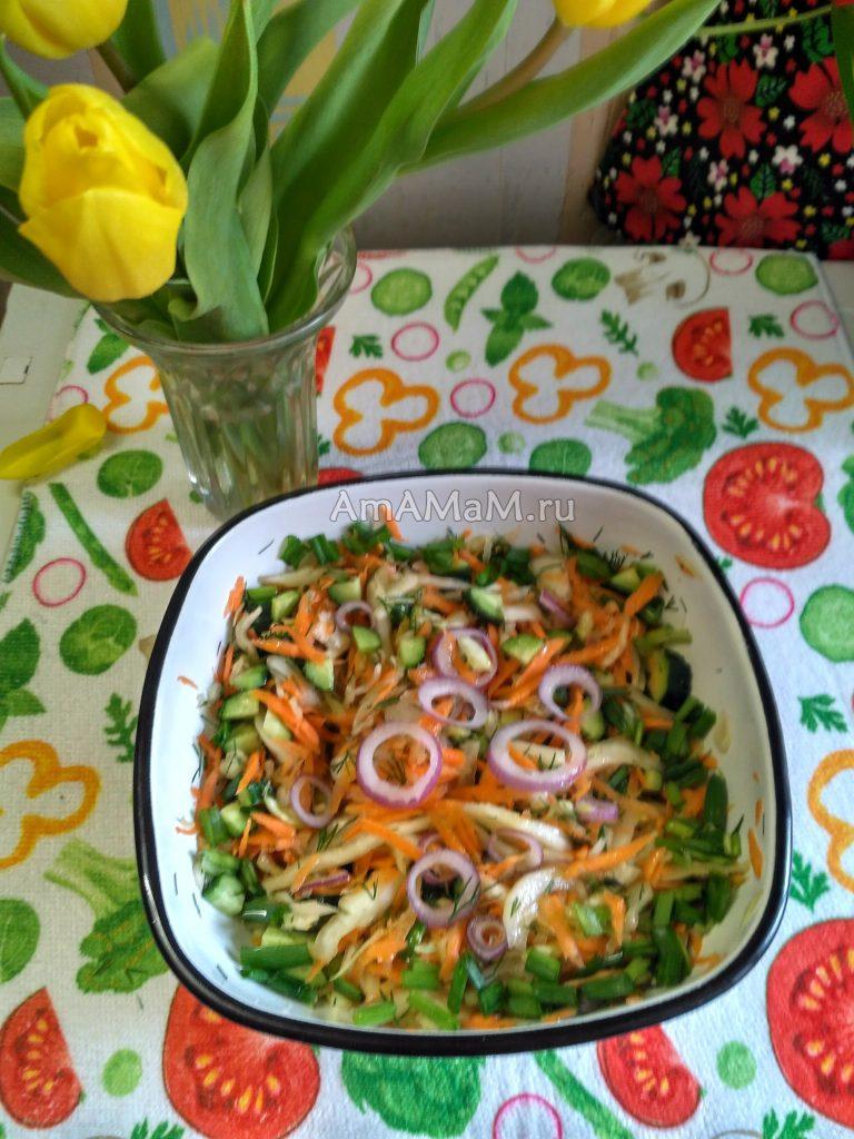 Капустный салат со свежими огурцами