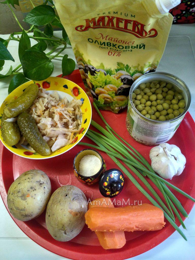 Продукты для салата из вареных и консервированных овощей