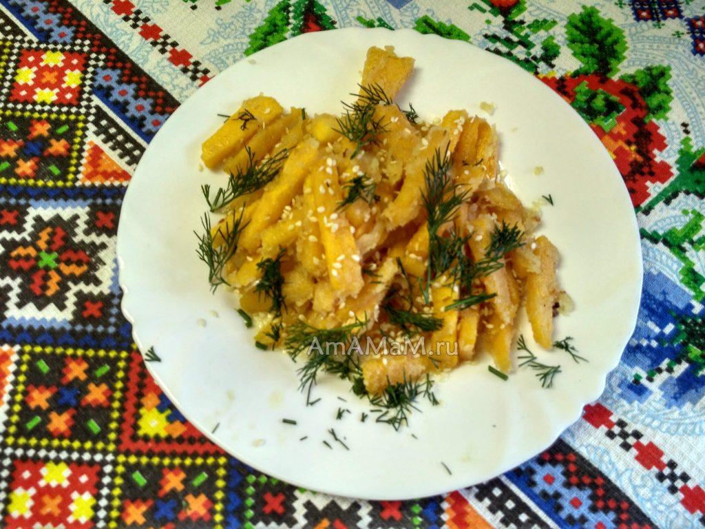 Тыква жареная - вкусное постное блюдо
