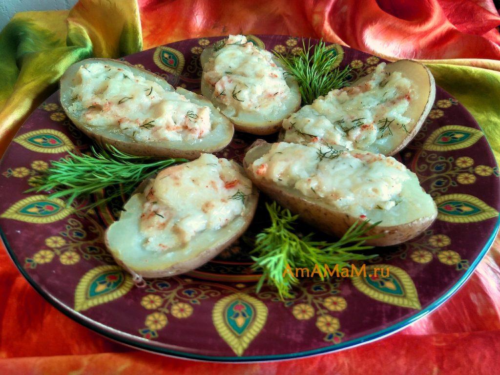 Картофель в виде лодочек, начиненный сыром