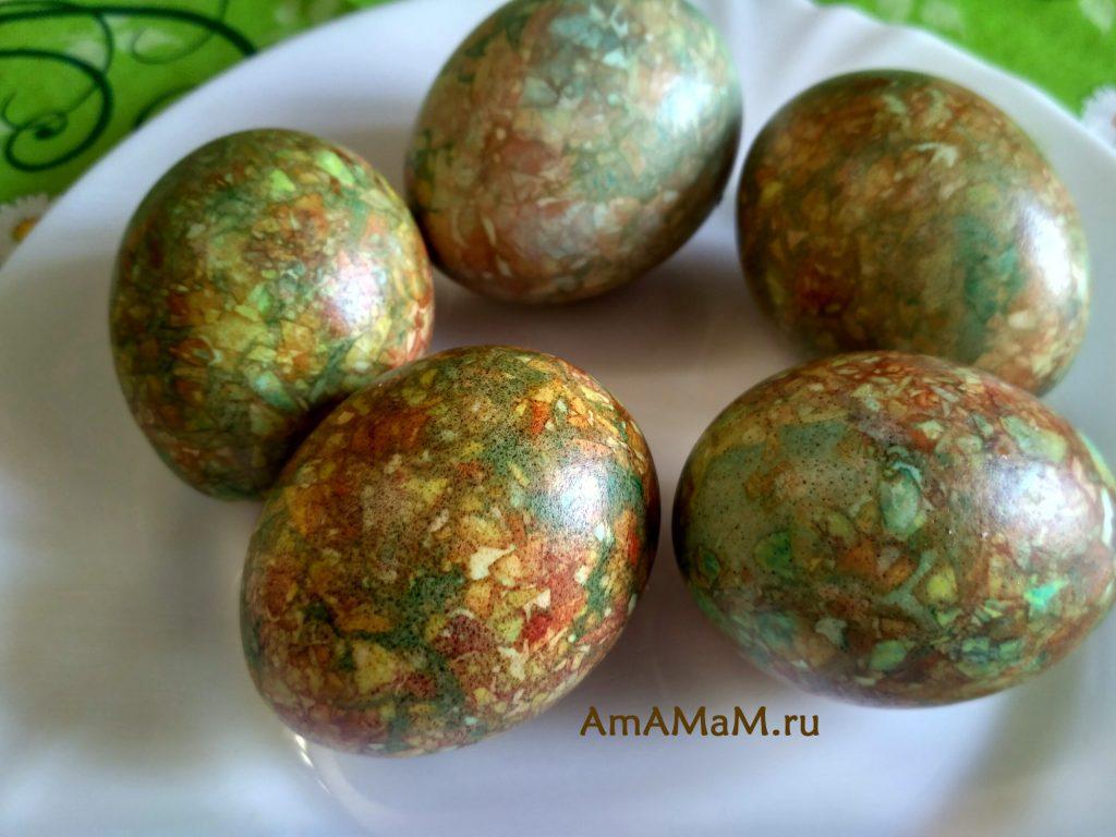 Пасхальные яйца, крашеные зеленкой и шелухой