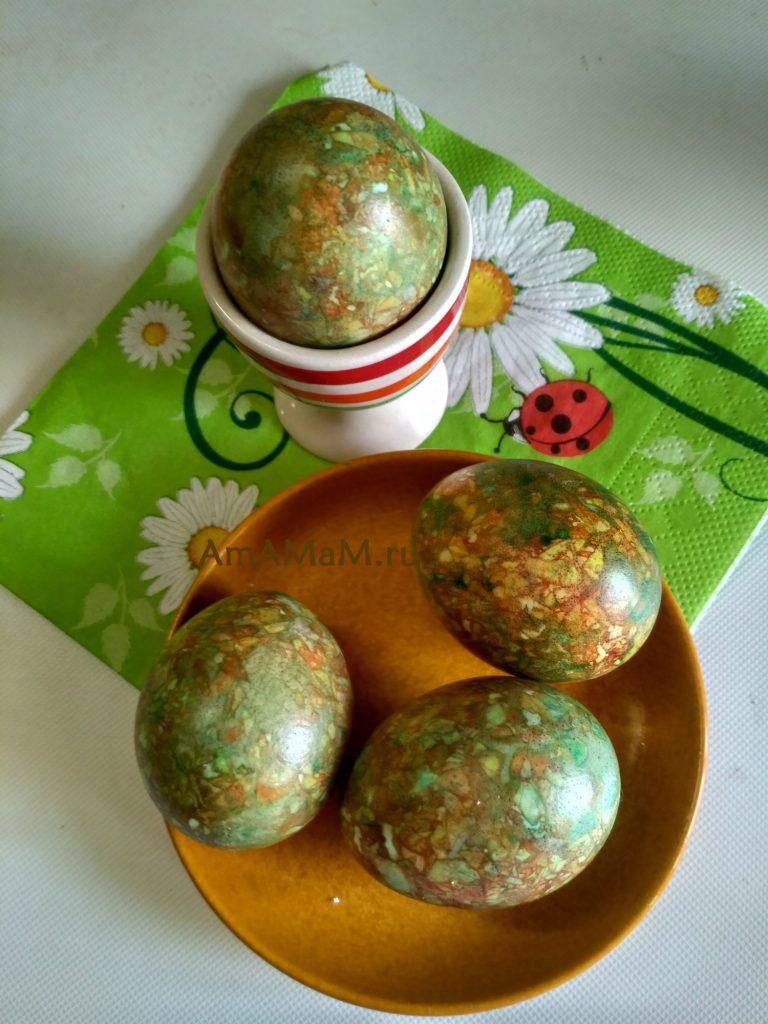 Мраморная окраска пасхальных яиц - фото готовых