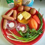 Бисквитный пирог с сосисками и зеленым луком - состав