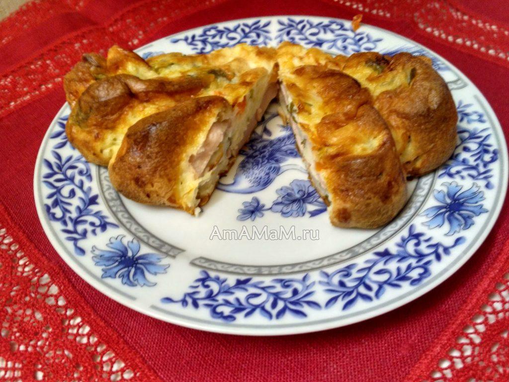 Рецепт вкусного пирога с сосисками из бисквитного теста на кефире