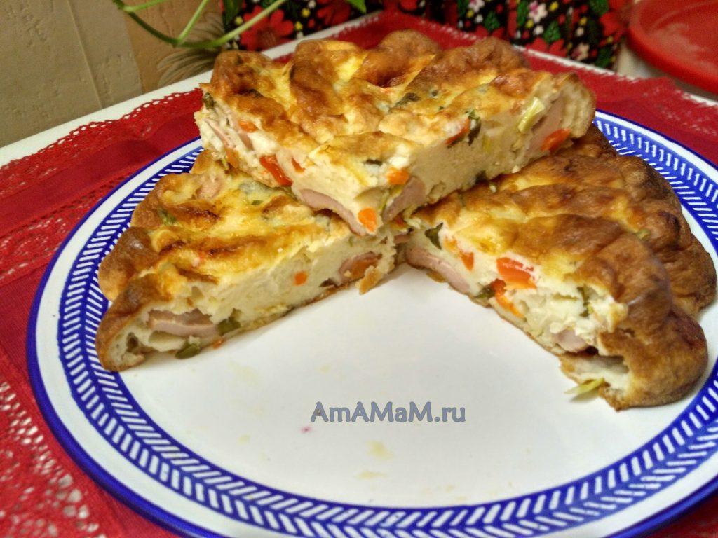 Вкусный пирог с сосисками и зеленым луком на кефире