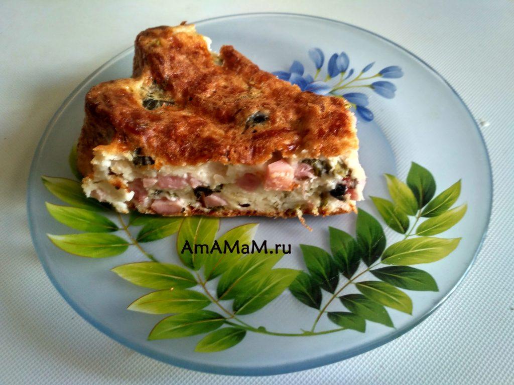 Рецепт пирога на кефире с ветчиной и маслинами