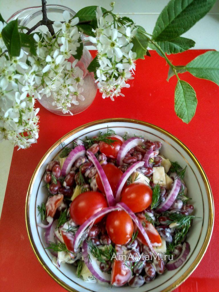 Красная фасоль консервированная - простой салат с помидорами и сыром