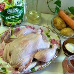 Курица, картофель, морковь, соль, специи и масло