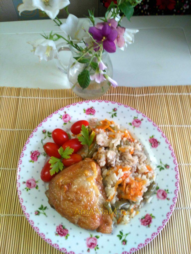 Рецепт бедрышек с рисом и стручковой фасолью в духовке
