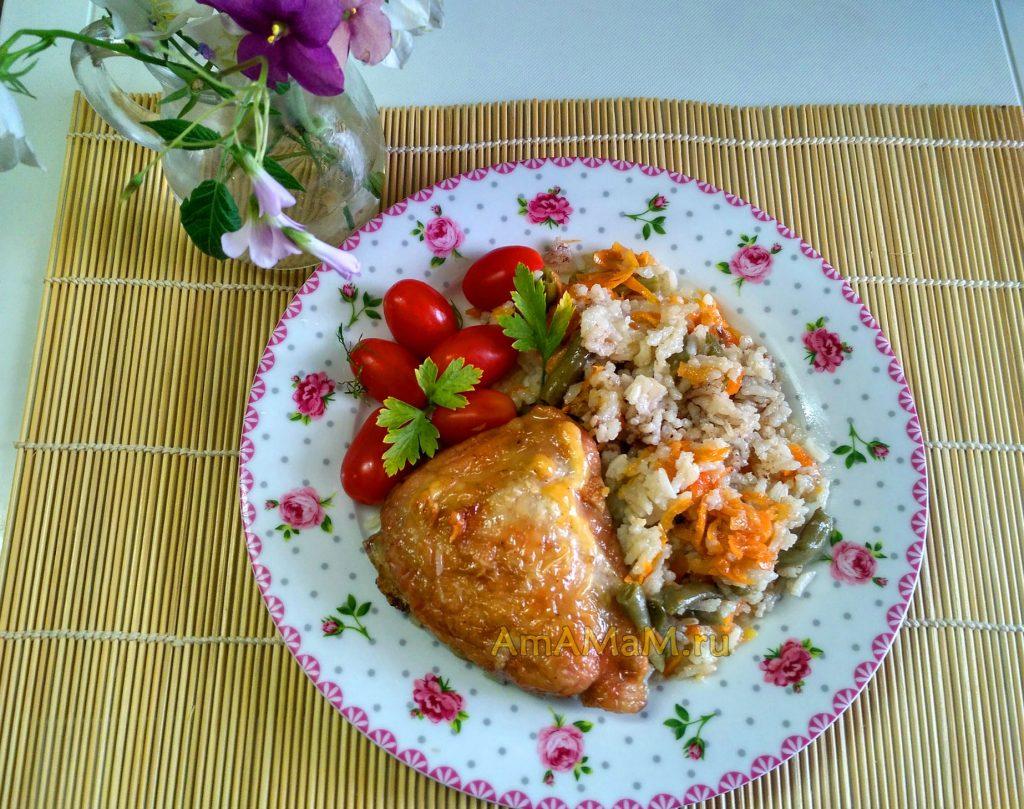 Рис с фасолью и бедрышкоами