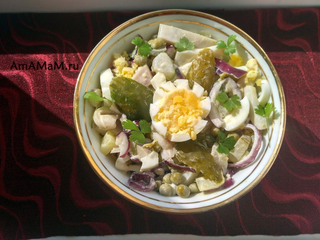Салат из кальмаров, рецепт