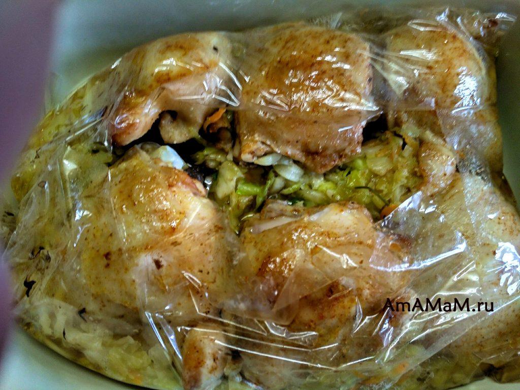 Рецепт бедрышек с капустйо в духовке (в пакете или рукаве)