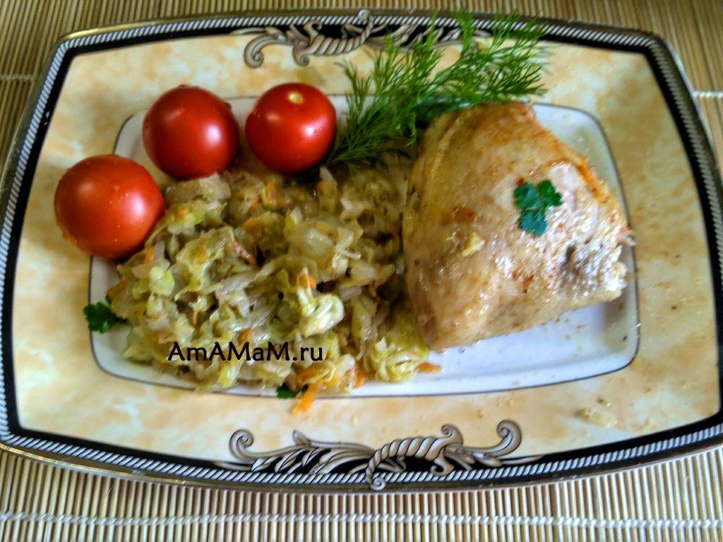 Курица (бедрышки) с капустой