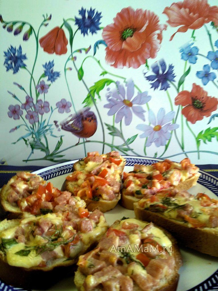 Бутерброды - мини-пиццы на батоне