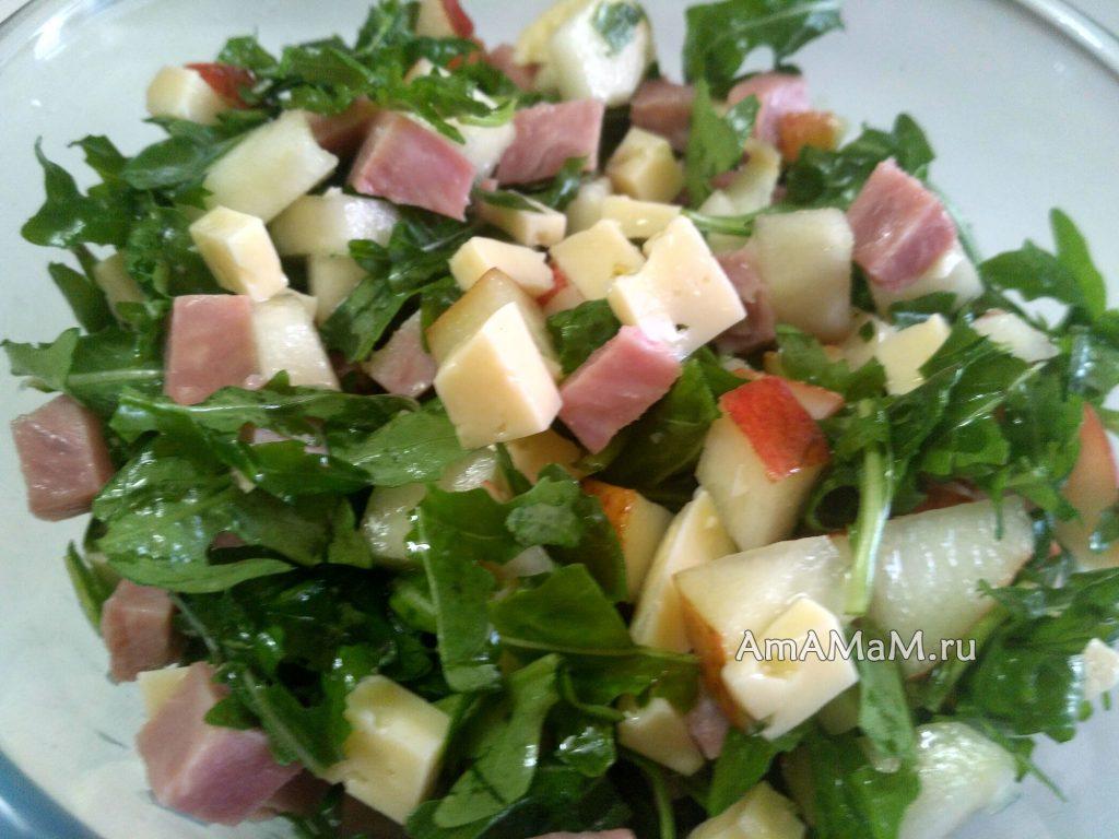 Салат из рукколы с грушами