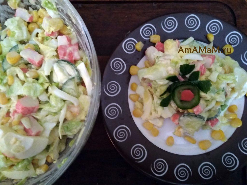 Рецепт салата из крабовых палочек и капусты - вкусно и просто