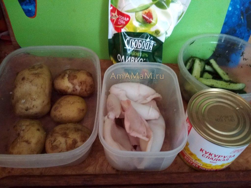 Ингредиенты салата с кальмарами