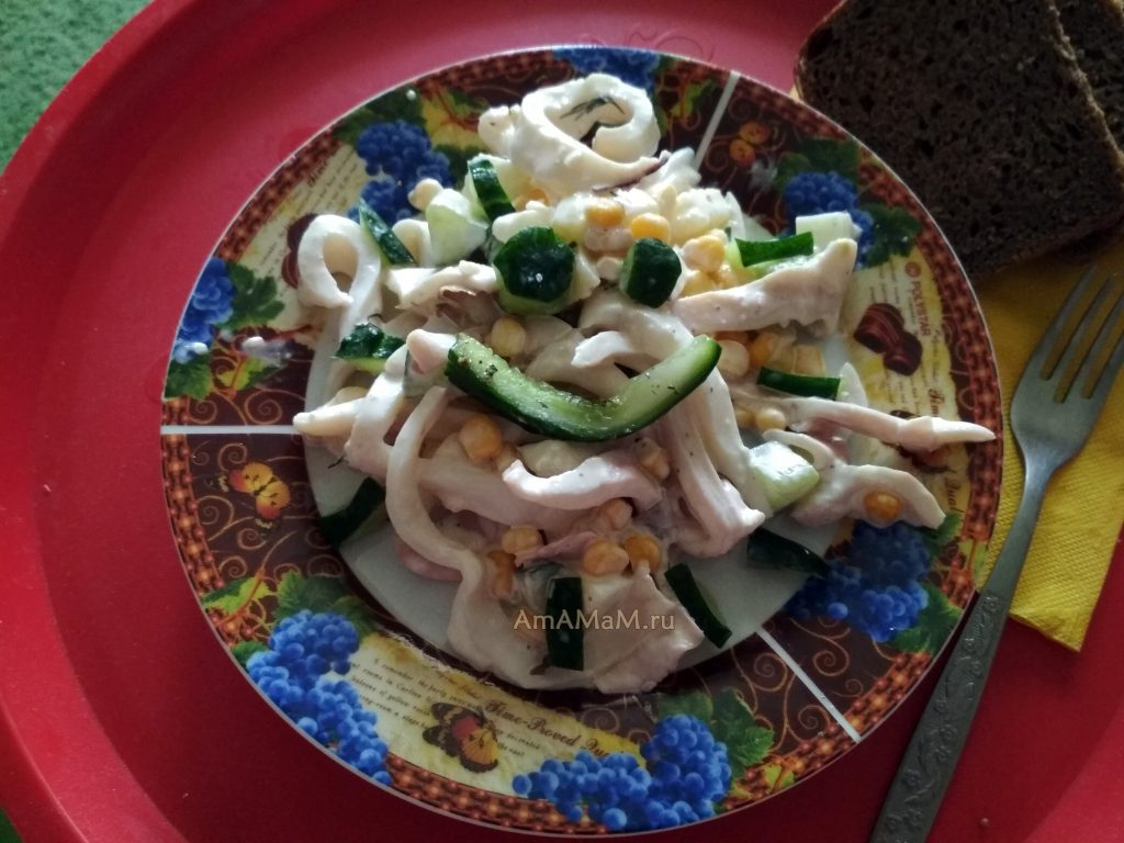 Кальмары - рецепт салата с огуцами