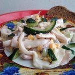Вкусный салат из кальмаров домашнего приготовления