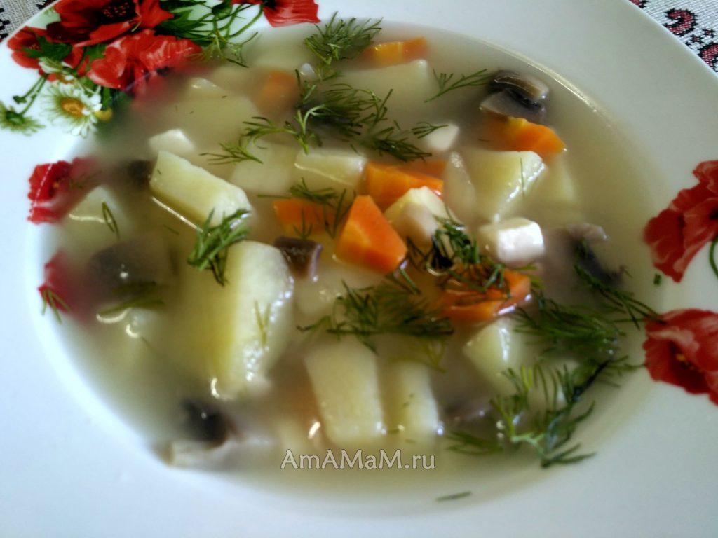 Вкусный суп из шампиньонов