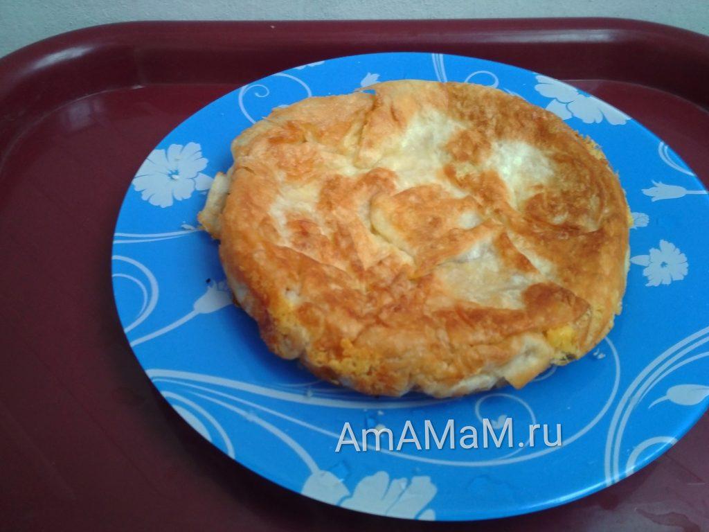 Рецепты из лаваша - пирог с сыром (лепешка)