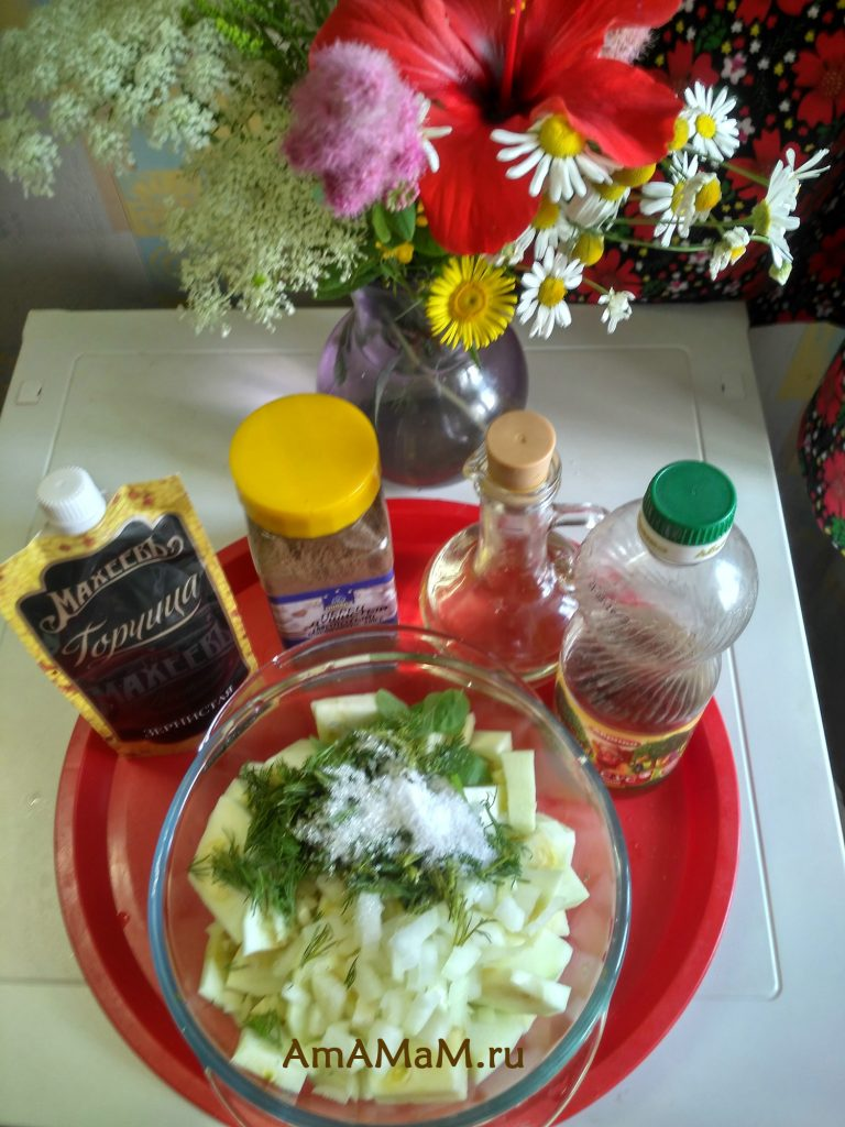 Быстро маринованные кабачки - ингредиенты