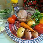 Фасолевый суп (стручковая фасоль, овощи и курица)