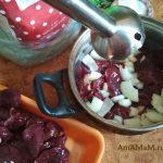 Печенка и лук -измельчение погружным блендером