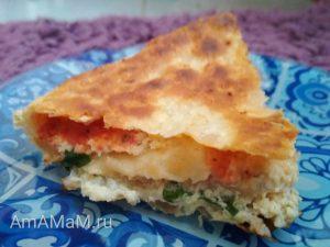 Пирог из лаваша с фаршем и томатным соусом