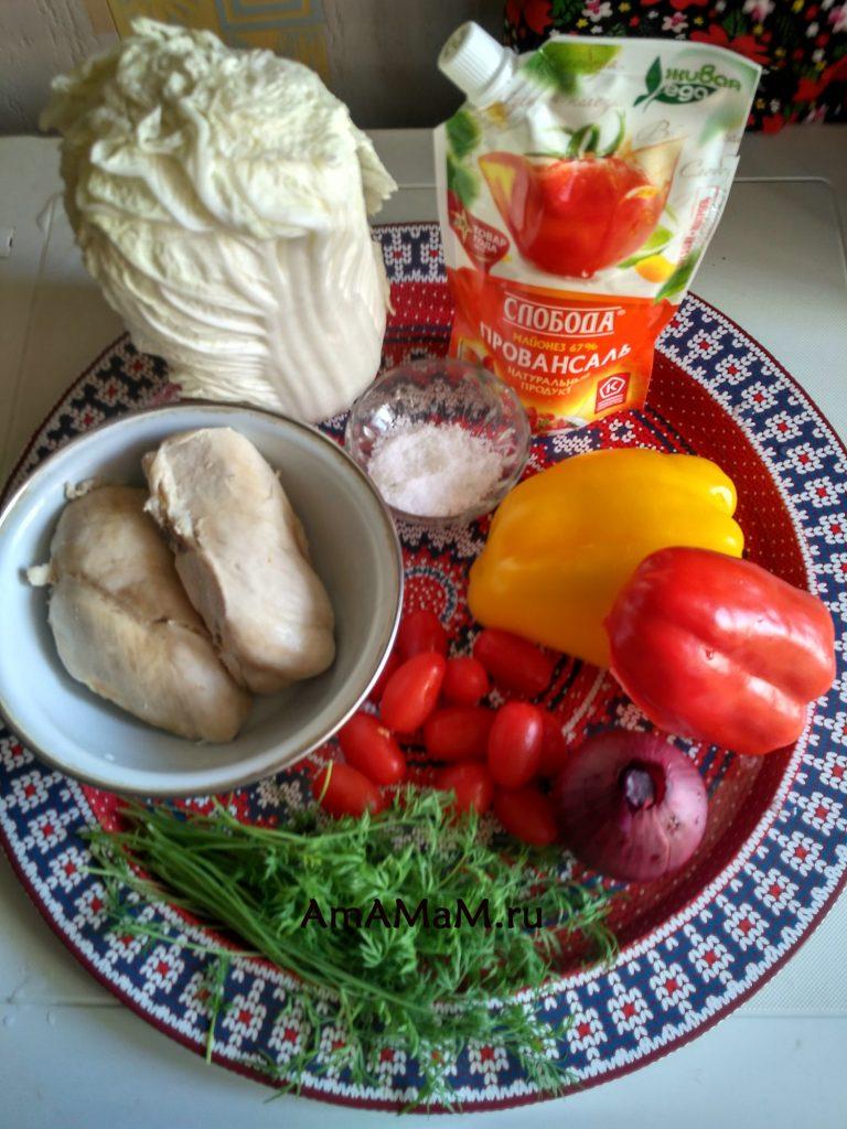 Ингредиенты салата с курицей