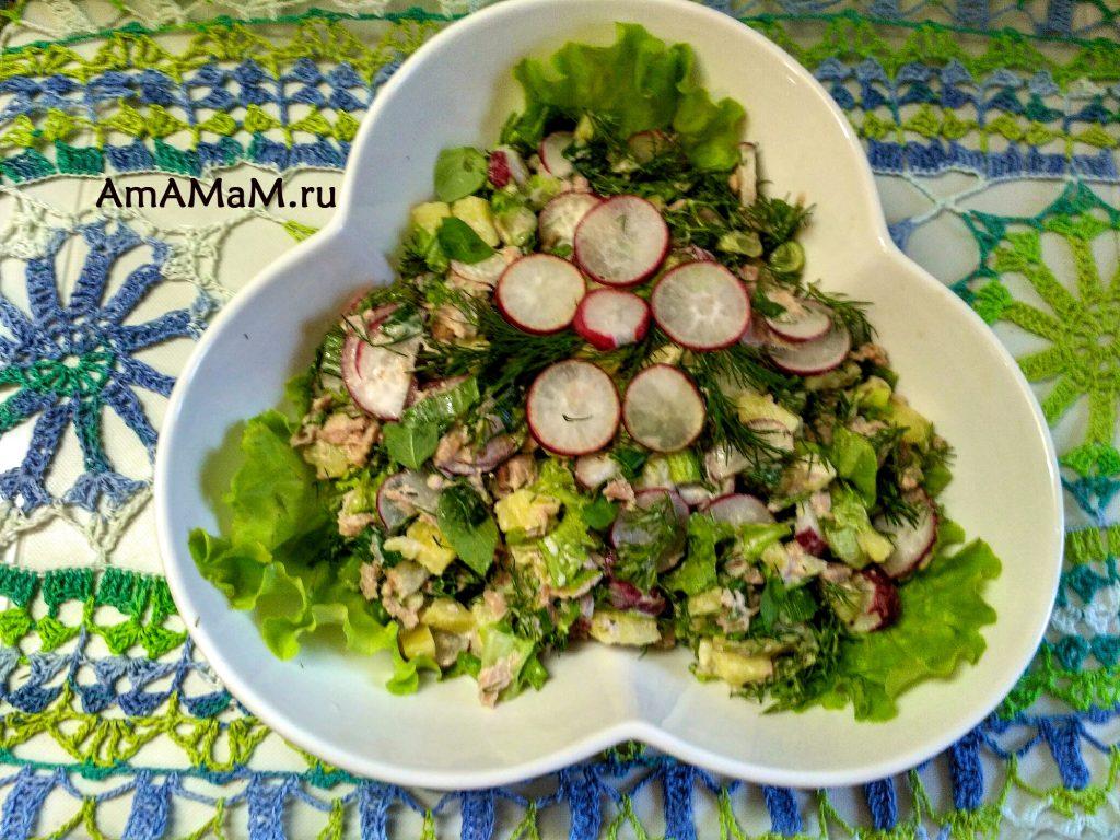 Салат с консервированным тунцом и редиской