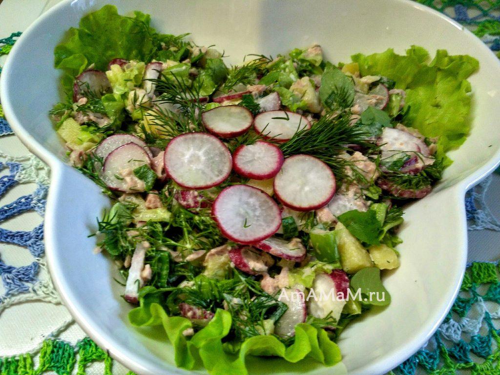 Редис. картофель, тунец, салатные листья, укроп и чеснок - рецепт салата