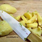 Картофель вареный на разделочной доске